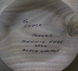 Signature on the black walnut platter